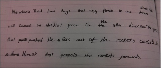 A Year 6 pupil's explanation of the principal of rocket thrust