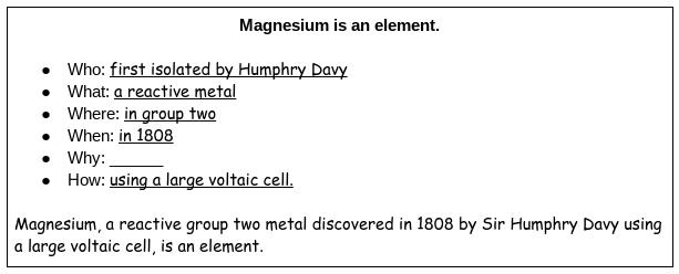 Magnesium Expand-a-Sentence DoNow