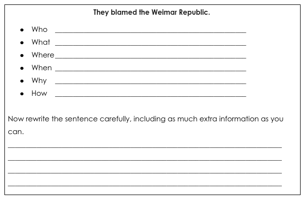 Weimar expand-a-sentence DoNow